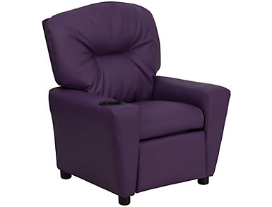 Flash Furniture Durable Vinyl Kids Recliner, Purple, , large