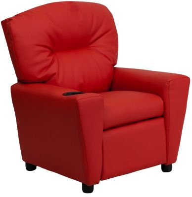 Flash Furniture Durable Upholstery Kids Recliner, Red, swatch
