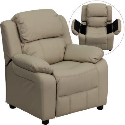 Flash Furniture Kids Recliner with Storage Arms, Beige, Beige, swatch