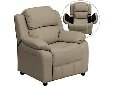 Flash Furniture Kids Recliner with Storage Arms, Beige, Beige, large