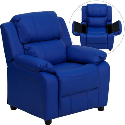 Kids Recliner with Storage Arms, Blue, swatch