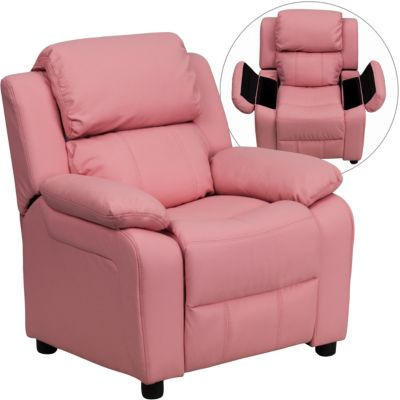 Flash Furniture Kids Recliner with Storage Arms, Beige, Pink, swatch