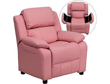 Flash Furniture Kids Recliner with Storage Arms, Pink, large