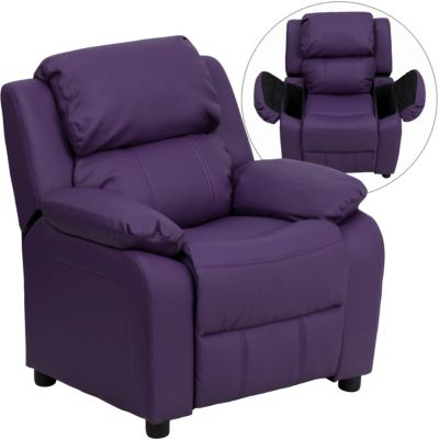 Flash Furniture Kids Recliner with Storage Arms, Beige, Purple, swatch