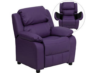 Flash Furniture Kids Recliner with Storage Arms, Purple, large