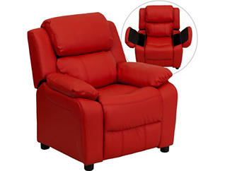 Flash Furniture Kids Recliner with Storage Arms, Red, large
