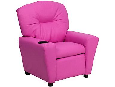 Flash Furniture Durable Vinyl Kids Recliner, Pink, large