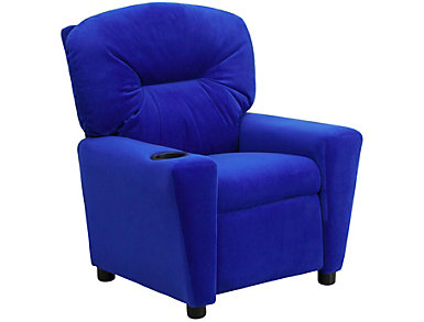 Flash Furniture Durable Upholstery Kids Recliner, Blue, Blue, large