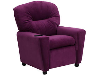 Flash Furniture Durable Upholstery Kids Recliner, Purple, , large