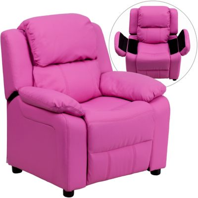 Kids Recliner with Storage Arms, Pink, swatch