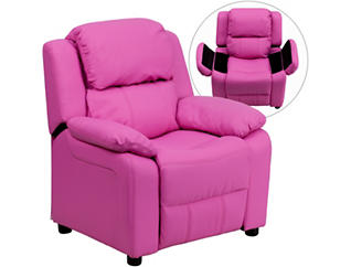 Flash Furniture Kids Recliner with Storage Arms, Pink, , large
