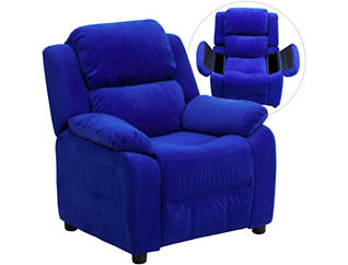 Flash Furniture Kids Recliner with Storage Arms, Blue, large