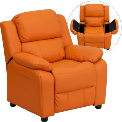 Flash Furniture Kids Recliner with Storage Arms, Beige, Orange, swatch