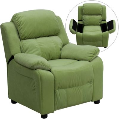 Flash Furniture Kids Recliner with Storage Arms, Green, swatch