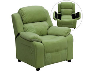 Flash Furniture Kids Recliner with Storage Arms, Green, , large
