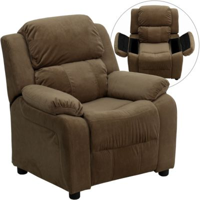 Flash Furniture Kids Recliner with Storage Arms, Beige, Brown, swatch