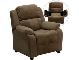 Flash Furniture Kids Recliner with Storage Arms, Brown, , large
