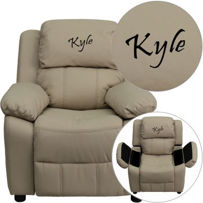 Monogrammed Kids Recliner with Storage Arms, Brown, Beige, swatch