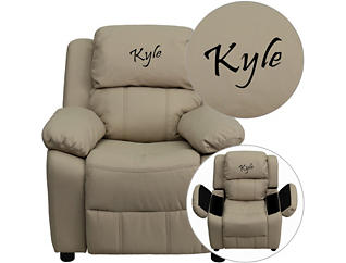 Monogramed Kids Recliner with Storage Arms, Beige, , large