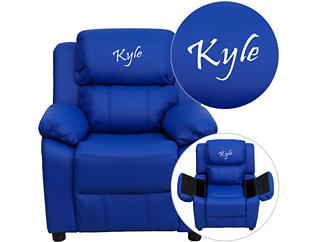 Monogramed Kids Recliner with Storage Arms, Blue, , large