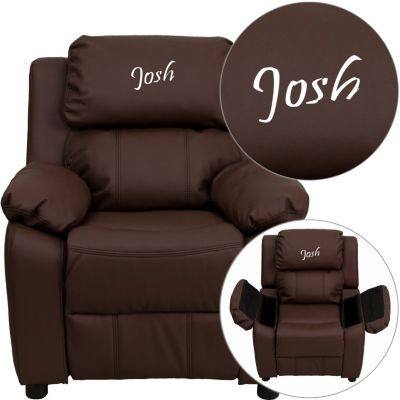 Monogrammed Kids Recliner with Storage Arms, Brown, Brown, swatch