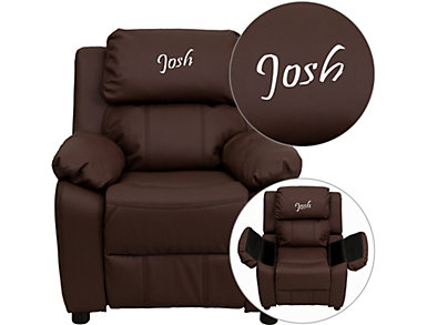 Monogrammed Kids Recliner with Storage Arms, Brown, Brown, large
