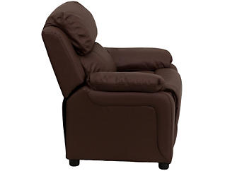 Monogrammed Brown Kids Recliner with Storage Arms, Brown, large