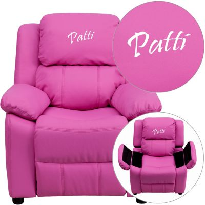 Monogrammed Kids Recliner with Storage Arms, Hot Pink, swatch