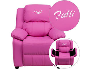 Monogramed Kids Recliner with Storage Arms, Hot Pink, , large