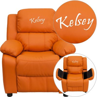 Monogrammed Kids Recliner with Storage Arms, Brown, Orange, swatch