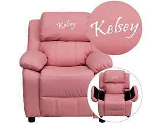 Monogrammed Kids Recliner with Storage Arms, Pink, large