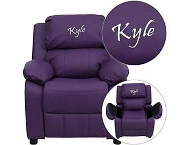 Monogrammed Kids Recliner with Storage Arms, Purple, large