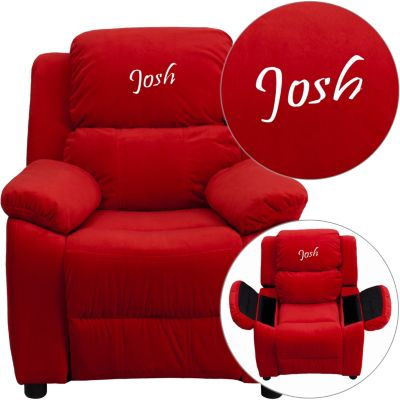 Monogrammed Kids Recliner with Storage Arms, Red, swatch