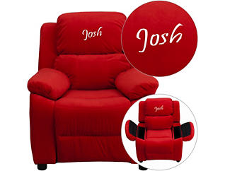 Monogrammed Kids Recliner with Storage Arms, Red, large