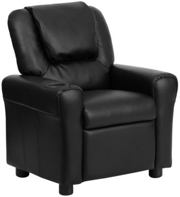 Kids Vinyl Recliner, Beige, Black, swatch