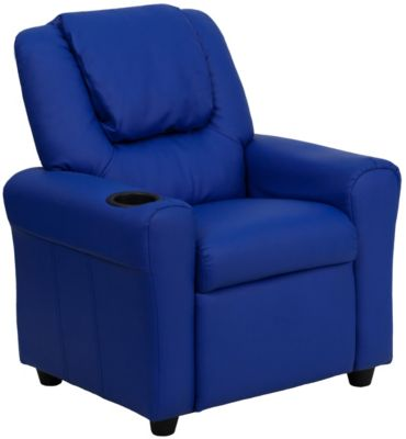 Durable Vinyl Kids Recliner with Cupholder, Blue, swatch