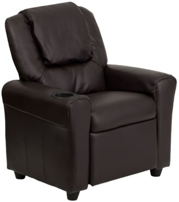 Kids Vinyl Recliner, Beige, Brown, swatch