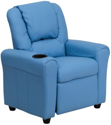Kids Vinyl Recliner, Beige, Blue, swatch