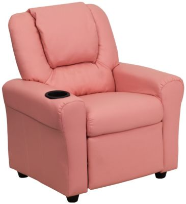 Durable Vinyl Kids Recliner with Cupholder, Pink, swatch