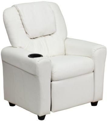 Kids Vinyl Recliner, Beige, White, swatch