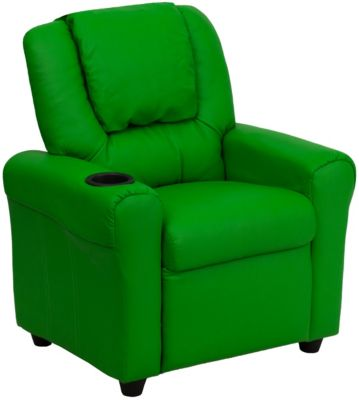 Kids Vinyl Recliner, Beige, Green, swatch