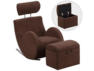 Kids Rocking Chair and Ottoman, Brown, , large
