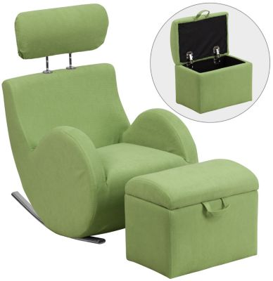 Kids Rocking Chair and Ottoman, Green, swatch
