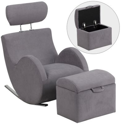 Kids Rocking Chair and Ottoman, Grey, Grey, swatch