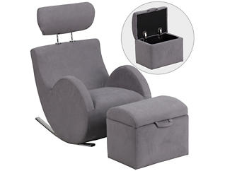 Kids Rocking Chair and Ottoman, Grey, Grey, large
