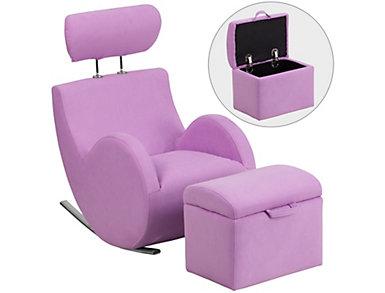 Kids Rocking Chair and Ottoman, Purple, large