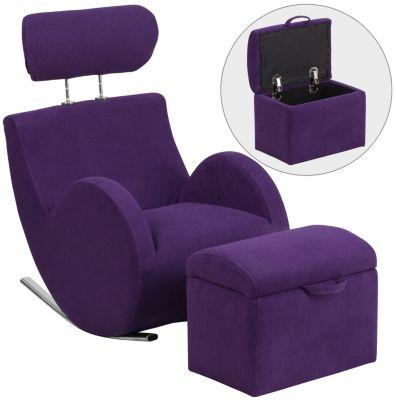 Kids Rocking Chair and Ottoman, Light Purple, swatch