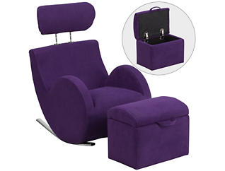 Kids Rocking Chair and Ottoman, Purple, , large