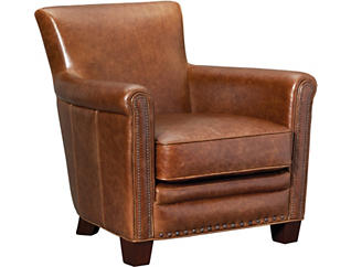 Sutton Leather Chair, Brown, , large