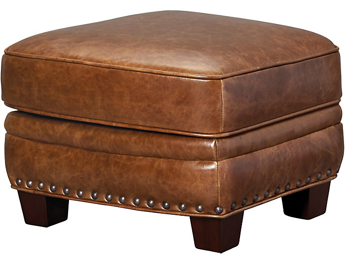 Sutton Leather Storage Ottoman, Brown, , large